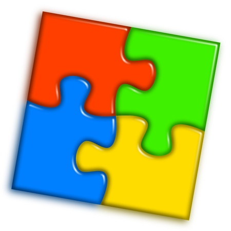 Combined multi-color puzzle representing cooperation and team work concept