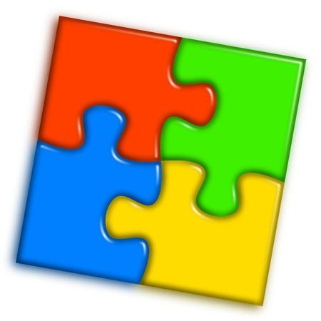 En combinación multicolor del rompecabezas que representa la cooperación y el concepto de trabajo en equipo