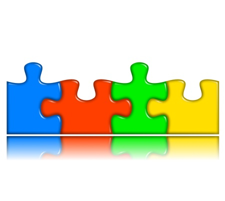 four combined multi-color puzzle pieces with reflection representing cooperation and team work concept photo