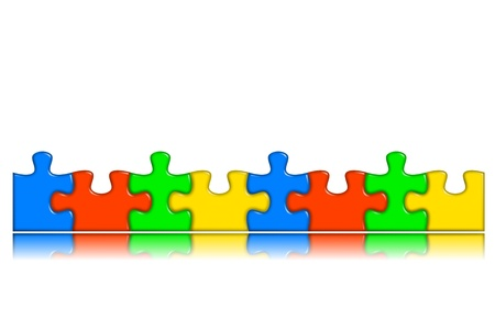 decision making: 8 Combined multi-color puzzle pieces with reflection