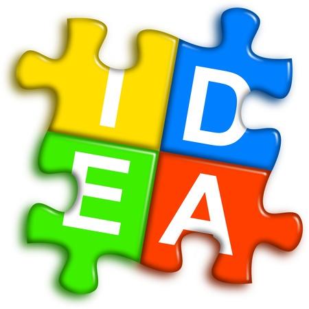 four multi-color puzzle pieces combined representing idea concept