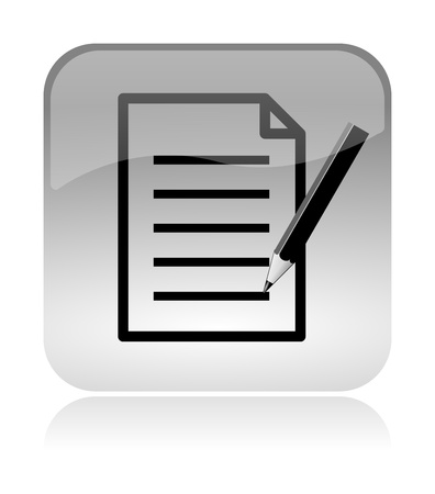 Fill form and document white, transparent and glossy web interface icon with reflection 스톡 콘텐츠