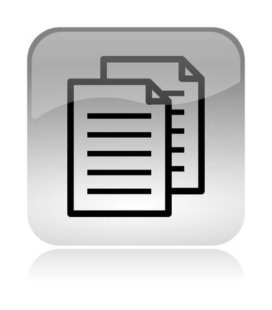 Documenten kopiëren wit, transparant en glossy web-interface pictogram met reflectie Stockfoto
