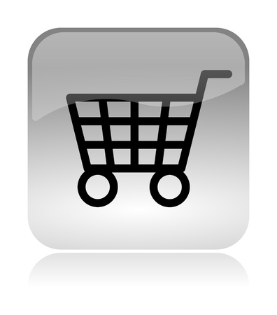 internet shopping: Shopping cart white, transparent and glossy web interface icon with reflection