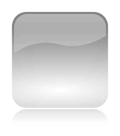 Empty, blank, white, transparent and glossy web interface icon with reflection