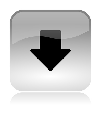Down arrow bottom, white, transparent and glossy web interface icon with reflection