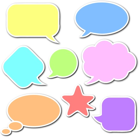 talks: Colorful, empty and blank comic speech bubbles stickers set with white border and shadow on white background Stock Photo