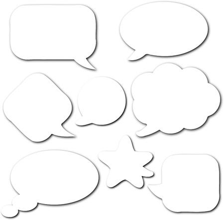 conversaciones: White burbujas de historietas en blanco y vacíos del discurso establecido con sombra sobre fondo blanco