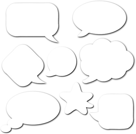 chat bubble: White empty and blank comic speech bubbles set with shadow on white background