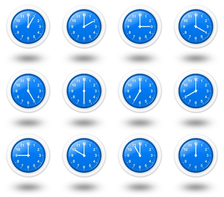 time zone: 12 hours analogic clocks set for world time zone