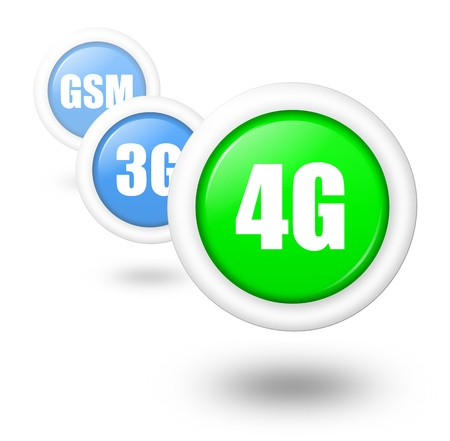 3g: 4G telecommunication progress concept illustration