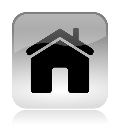 Home white, transparent and glossy web interface icon with reflection