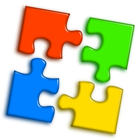 Combined multi-color puzzle representing cooperation and team work concept Stock Photo - 14636021