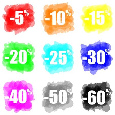 set of colorful paint splat discount concept 스톡 콘텐츠