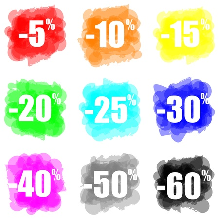 set of colorful paint splat discount concept Stock Photo
