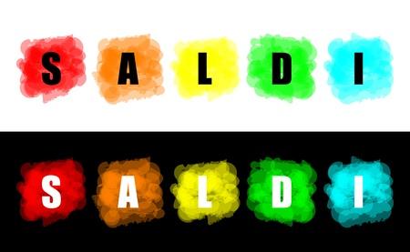 set of colorful paint splat for commerce sales concept photo