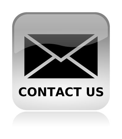 Contact us email white, transparent and glossy web interface icon with reflection