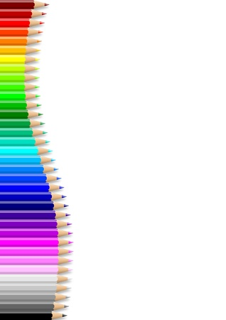 Rainbow of colorful wavy pencils wall on empty notebook white sheet illustration Stock Photo