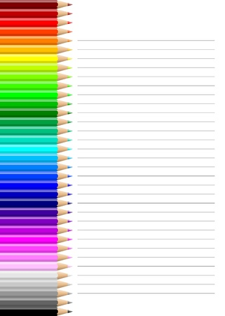 Rainbow of colorful pencils wall on lined notebook white sheet illustration illustration