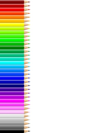 Rainbow of colorful pencils wall on empty notebook white sheet illustration
