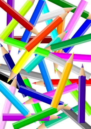 Disordered colorful pencils chaos backgound illustration illustration