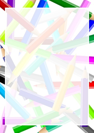 Disordered colorful pencils chaos backgound under a white transparent frame illustration illustration