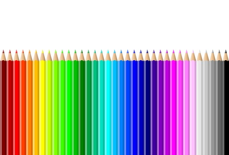 Horizontal rainbow of colorful pencils wall on white background illustration illustration
