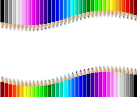 Rainbow of double colorful wavy pencils wall on empty white background illustration Stock Illustration - 14636012