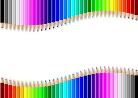 Rainbow of double colorful wavy pencils wall on empty white background illustration illustration