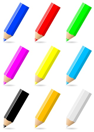 Set of colorful pencils with colored tip and shadow on white background illustration