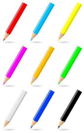 Set of colorful pencils with colored tip and shadow on white background illustration Stock Illustration - 14635907