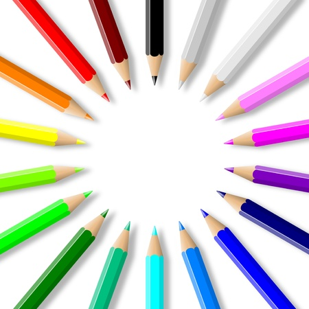 Rainbow of colorful wood pencils arranged in circle on empty white background illustration illustration