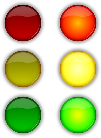 stop piracy: Glossy web security on off traffic lights buttons set
