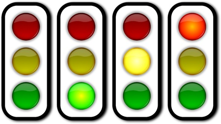 stop piracy: Glossy web security on off traffic ligths buttons set Stock Photo