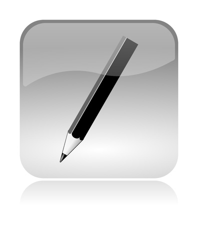 Pencil, crayon, white, transparent and glossy web interface icon with reflection