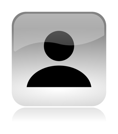 User profile white, transparent and glossy web interface icon with reflection