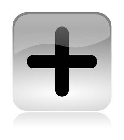 Plus, add, white, transparent and glossy web interface icon with reflection