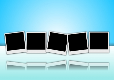 generating: 5 empty picture frames Polaroid style set with reflection on blue background illustration