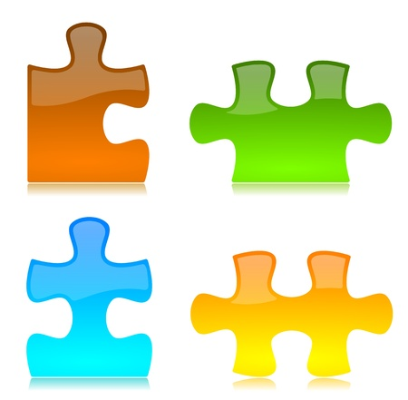 Glossy red, green, blue, yellow colored Puzzle Pieces Stockfoto