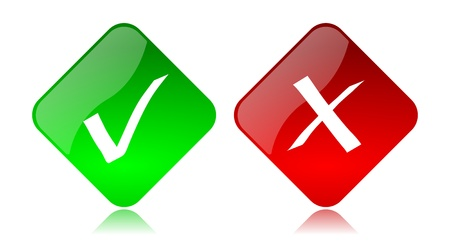 stop piracy: Red and green glossy allow deny buttons icon set with reflection on white background Stock Photo