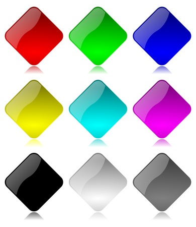 Colored and glossy rhombus buttons set with reflection on white background illustration