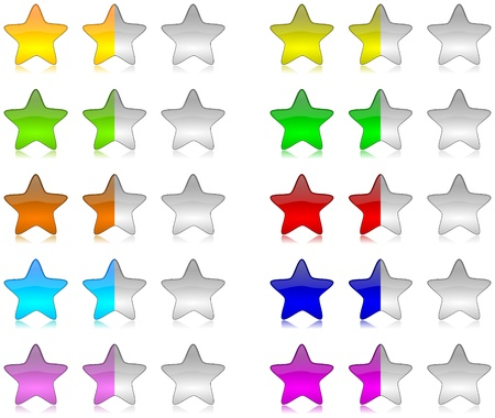Colorful brilliant and glossy rating stars set illustration with reflection illustration