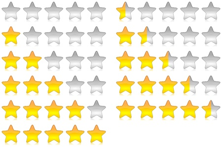 reviews: Yellow brilliant and glossy rating stars set illustration with reflection Stock Photo
