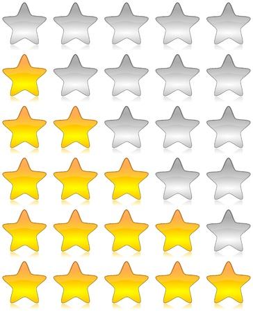 evaluacion: Amarillo y negro estrellas brillante conjunto de iconos para la calificaci�n y la encuesta