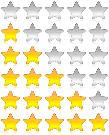 five stars: Yellow and white glossy stars icon set for rating and survey