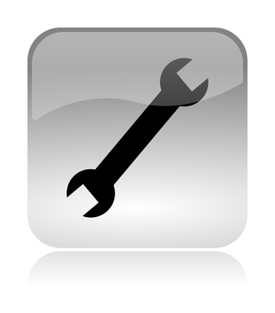 Wrench, settings, white, transparent and glossy web interface icon with reflection Stock Photo