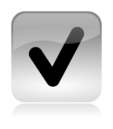 Check, approved, white, transparent and glossy web interface icon with reflection