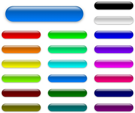 Colorful web empty buttons collection with shadow on white background illustration illustration