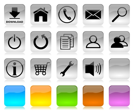 icon contact: Black on white glossy internet icons series and five colors blank customizable buttons Stock Photo