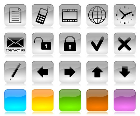 Black on white glossy internet icons series and five colors blank customizable buttons photo